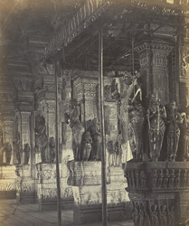 Madura. Trimul Naik's Portico [Pudu Mandapa]. Carved pillars on north side